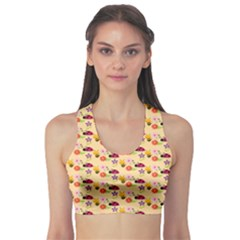 Colorful Ladybug Bess And Flowers Pattern Sports Bra
