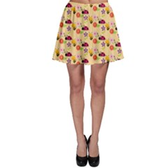 Colorful Ladybug Bess And Flowers Pattern Skater Skirts