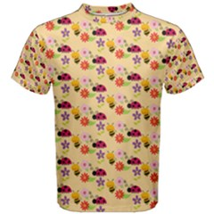 Colorful Ladybug Bess And Flowers Pattern Men s Cotton Tees