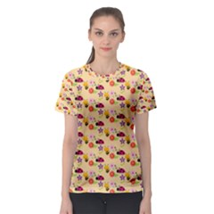 Colorful Ladybug Bess And Flowers Pattern Women s Sport Mesh Tees