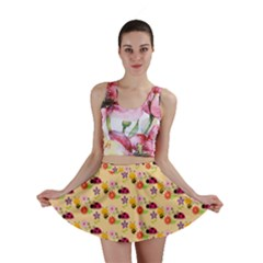 Colorful Ladybug Bess And Flowers Pattern Mini Skirts
