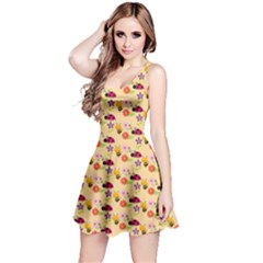 Colorful Ladybug Bess And Flowers Pattern Reversible Sleeveless Dresses