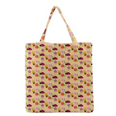 Colorful Ladybug Bess And Flowers Pattern Grocery Tote Bags