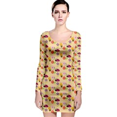 Colorful Ladybug Bess And Flowers Pattern Long Sleeve Bodycon Dresses