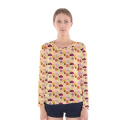 Colorful Ladybug Bess And Flowers Pattern Women s Long Sleeve T Shirts