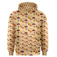 Colorful Ladybug Bess And Flowers Pattern Men s Pullover Hoodies