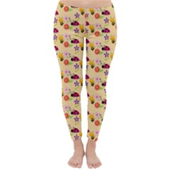 Colorful Ladybug Bess And Flowers Pattern Winter Leggings