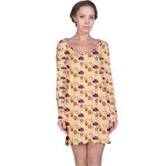 Colorful Ladybug Bess And Flowers Pattern Long Sleeve Nightdresses