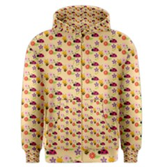 Colorful Ladybug Bess And Flowers Pattern Men s Zipper Hoodies