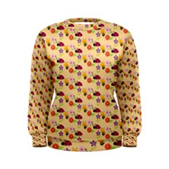 Colorful Ladybug Bess And Flowers Pattern Women s Sweatshirts