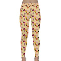 Colorful Ladybug Bess And Flowers Pattern Yoga Leggings