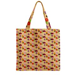 Colorful Ladybug Bess And Flowers Pattern Zipper Grocery Tote Bags