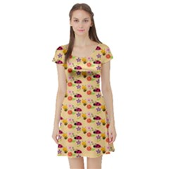 Colorful Ladybug Bess And Flowers Pattern Short Sleeve Skater Dresses