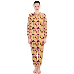 Colorful Ladybug Bess And Flowers Pattern OnePiece Jumpsuit (Ladies)
