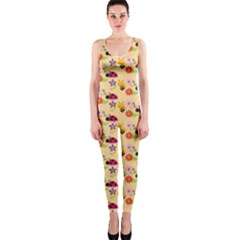 Colorful Ladybug Bess And Flowers Pattern OnePiece Catsuits