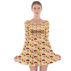 Colorful Ladybug Bess And Flowers Pattern Long Sleeve Skater Dress