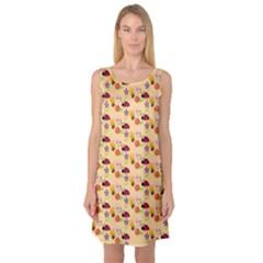 Colorful Ladybug Bess And Flowers Pattern Sleeveless Satin Nightdresses
