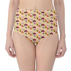 Colorful Ladybug Bess And Flowers Pattern High Waist Bikini Bottoms
