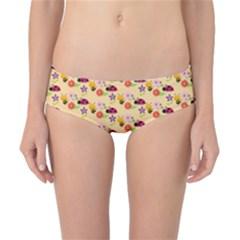 Colorful Ladybug Bess And Flowers Pattern Classic Bikini Bottoms