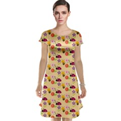 Colorful Ladybug Bess And Flowers Pattern Cap Sleeve Nightdresses