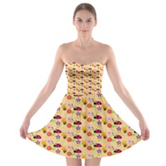 Colorful Ladybug Bess And Flowers Pattern Strapless Bra Top Dress