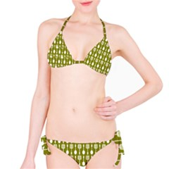 Olive Green Spatula Spoon Pattern Bikini Set
