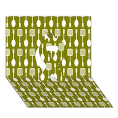 Olive Green Spatula Spoon Pattern Ribbon 3D Greeting Card (7x5)