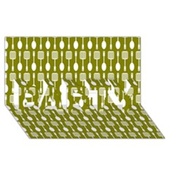 Olive Green Spatula Spoon Pattern Party 3d Greeting Card (8x4)