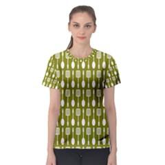 Olive Green Spatula Spoon Pattern Women s Sport Mesh Tees