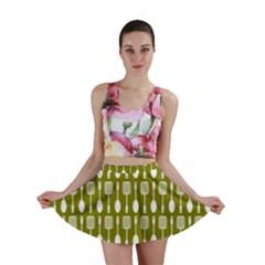 Olive Green Spatula Spoon Pattern Mini Skirts