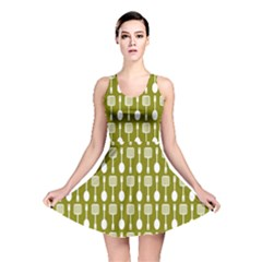 Olive Green Spatula Spoon Pattern Reversible Skater Dresses