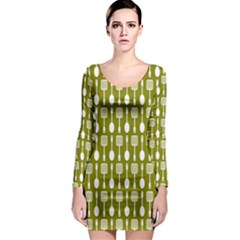 Olive Green Spatula Spoon Pattern Long Sleeve Bodycon Dresses