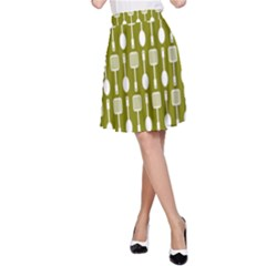 Olive Green Spatula Spoon Pattern A-Line Skirts