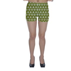 Olive Green Spatula Spoon Pattern Skinny Shorts