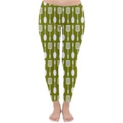 Olive Green Spatula Spoon Pattern Winter Leggings