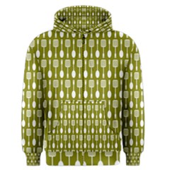 Olive Green Spatula Spoon Pattern Men s Zipper Hoodies