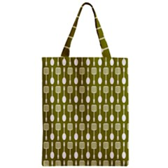 Olive Green Spatula Spoon Pattern Zipper Classic Tote Bags