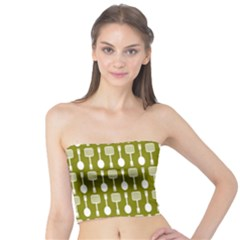 Olive Green Spatula Spoon Pattern Women s Tube Tops