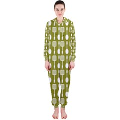 Olive Green Spatula Spoon Pattern Hooded Jumpsuit (ladies)