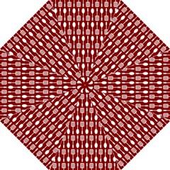 Red And White Kitchen Utensils Pattern Golf Umbrellas