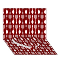 Red And White Kitchen Utensils Pattern Heart Bottom 3d Greeting Card (7x5)