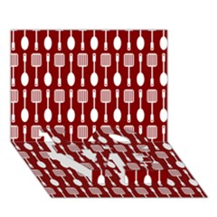 Red And White Kitchen Utensils Pattern Love Bottom 3d Greeting Card (7x5)
