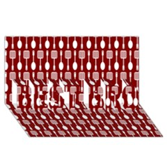 Red And White Kitchen Utensils Pattern Best Bro 3d Greeting Card (8x4)