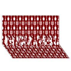 Red And White Kitchen Utensils Pattern ENGAGED 3D Greeting Card (8x4)