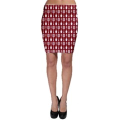 Red And White Kitchen Utensils Pattern Bodycon Skirts