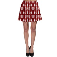 Red And White Kitchen Utensils Pattern Skater Skirts