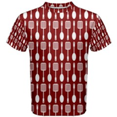 Red And White Kitchen Utensils Pattern Men s Cotton Tees