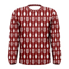 Red And White Kitchen Utensils Pattern Men s Long Sleeve T-shirts