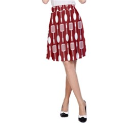 Red And White Kitchen Utensils Pattern A Line Skirts