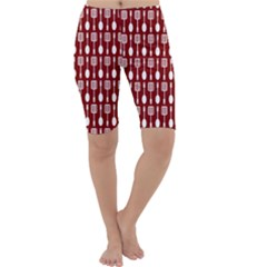 Red And White Kitchen Utensils Pattern Cropped Leggings